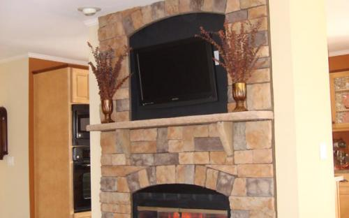 fireplace inside modular home